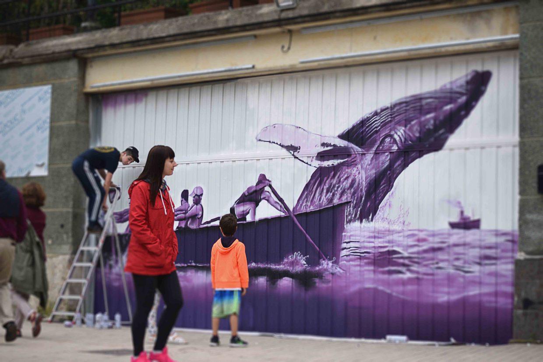 Graffiti sobre la caza de la ballena